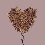 Vector background with abstract Heart curls Stock Photo