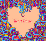 Vector background with abstract Heart frame curls Stock Images