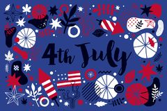 Vector background with abstract patriotic elements for 4 July Independence Day. Useful for banners, advertising and invitations Royalty Free Illustration