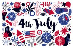Vector background with abstract patriotic elements for 4 July Independence Day. Useful for banners, advertising and invitations Stock Illustration
