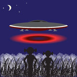 Vector background with UFO Stock Photo