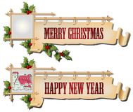 Vector background with antique scroll for Christmas and New year Stock Images
