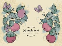 Vector background with apples and butterfly - read Royalty Free Stock Photos