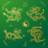 Vector background with asia dragons. Hand drawn Royalty Free Stock Image