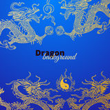 Vector background with asia dragons. Hand drawn Royalty Free Stock Photos