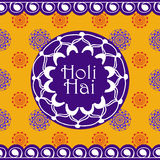 Vector background or banner for Holi festival of colors. Happy Holi. Design for celebration. Mehndi indian ornamental frame and borders on bright background Royalty Free Stock Images