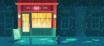 Vector beer bar at night with people Royalty Free Stock Photography