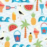 Vector background Beach icons flat seamless pattern stock illustration