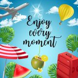 Vector background with beach and travel elements. Tourism. Traveling around the world. Background for travel agent Royalty Free Stock Photo