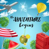 Vector background with beach and travel elements. Tourism. Traveling around the world. Background for travel agent Royalty Free Stock Images