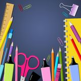 Vector background with beautiful, colored writing set for writin royalty free illustration