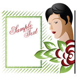 Vector background with a beautiful girl among the flowers. Royalty Free Stock Images