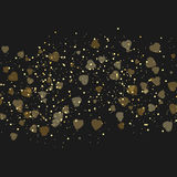 Vector background with beautiful golden hearts. Valentines day background with golden dots on dark. Stock Photo