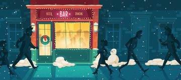 Vector beer bar at winter, Christmas Eve. Vector background with beer bar at winter, Christmas Eve. People on the street and inside the establishment. Facade stock illustration