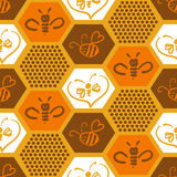 Vector background with bees for your design. Stock Images