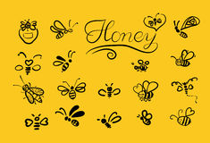 Vector background with bees for your design. Stock Photo