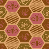 Vector background with bees for your design. Royalty Free Stock Photo