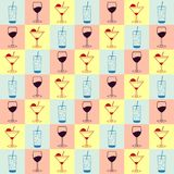 Vector background with beverages icons. Vector seamless pattern background with alcoholic and non alcoholic beverages icons Royalty Free Stock Image