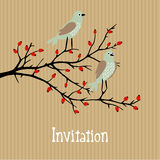 Vector background with birds on wild rose bush Royalty Free Stock Photos