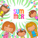 Vector background blank with kids summer camp Stock Images