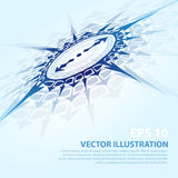 Vector background with blue compass Royalty Free Stock Photography