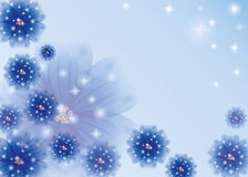 Vector background with blue flowers Stock Image