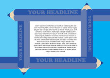 Vector Background with Blue Pencils Border Framing White Text Ar. Page layout with blue pencils framing central area for text. Vector background design in blue Stock Images