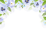 Vector background with blue and purple pansy and forget-me-not flowers. Royalty Free Stock Photos