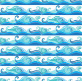 Vector background with blue sea waves. Seamless  pattern Royalty Free Stock Image