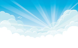 Vector background - blue sky with white clouds and sunrise Royalty Free Stock Images