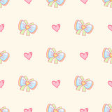 Vector background with bows and hearts. Hand drawn seamless pattern with cute design element Royalty Free Stock Photography