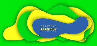 Vector background with brazilian flag colors paper cut shapes. 3D abstract paper art style, design layout for business presentations, flyers, posters, prints royalty free illustration