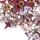 Vector background with butterflies and flowers filigree drawn il. Floral vector background with butterflies and flowers filigree drawn illustration Royalty Free Stock Images