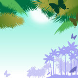 Vector background with butterflies and palms. Tropical vector background with butterflies, palm trees, sky and sun Stock Image