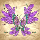 Vector background with butterfly and feather Stock Images