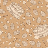 Vector background with of cake and barries in retro style. Seamless pattern Royalty Free Stock Images