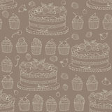 Vector background with of cake and barries in retro style. Vector background with of cake and barries in sepia retro style. Seamless pattern Royalty Free Stock Images