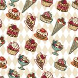 Vector background with of cake in retro style Royalty Free Stock Photography