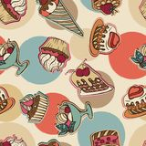Vector background with cake in retro style Stock Photo