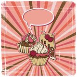 Vector background with of cake in retro style Stock Images