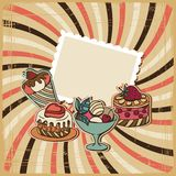 Vector background with cake in retro style Royalty Free Stock Image
