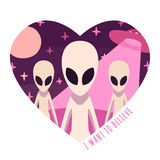 Vector background and card aliens and UFO in heart Royalty Free Stock Photography