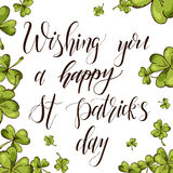 Vector background card lettering. Hand drawn design for St. Patrick`s day. Art greeting for card, poster, brochure. Stock Photos