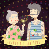 Vector background and card Party All The Time with old tattooed couple. Yellow ribbon and sparkler Royalty Free Stock Images