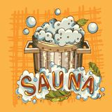 Vector image of sauna accessories in background image. Vector background with cartoon hand drawn sauna objects: broom, towel, hat, wisp, beer, steam. Relaxation Royalty Free Stock Images