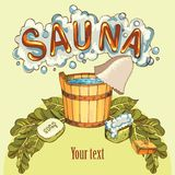 Vector image of sauna accessories in background image. Vector background with cartoon hand drawn sauna objects: broom, towel, hat, wisp, beer, steam. Relaxation Royalty Free Stock Photo