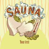 Vector image of sauna accessories in background image. Vector background with cartoon hand drawn sauna objects: broom, towel, hat, wisp, beer, steam. Relaxation Stock Photography