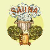 Vector image of sauna accessories in background image. Vector background with cartoon hand drawn sauna objects: broom, towel, hat, wisp, beer, steam. Relaxation Stock Images