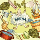 Vector image of sauna accessories in background image. Vector background with cartoon hand drawn sauna objects: broom, towel, hat, wisp, beer, steam. Relaxation Stock Image