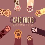 Vector background with cats foots in cartoon style. T-shirt design Royalty Free Stock Photography